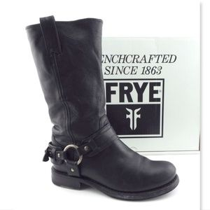 FRYE Black Leather Logo Buckled Harness Boots 6.5